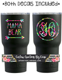 Lilly Pattern Mama Bear Decal AND Monogram - Mom Gift - Perfect for Yeti, Cars, Wine Glass, Laptop, Planner and More! Momma Bear