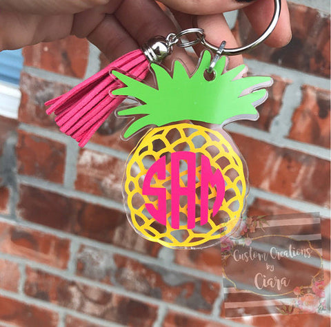 Pineapple Monogram Keychain