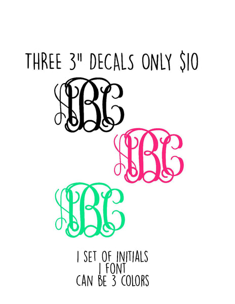 "THREE 3"" DECALS ONLY $10"