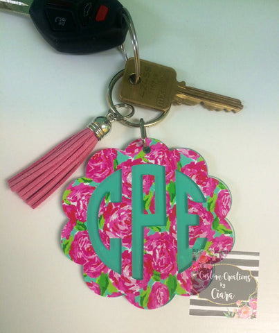 Lilly Scallop Monogram Keychain
