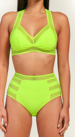 Neon Green High Rose Swimsuit