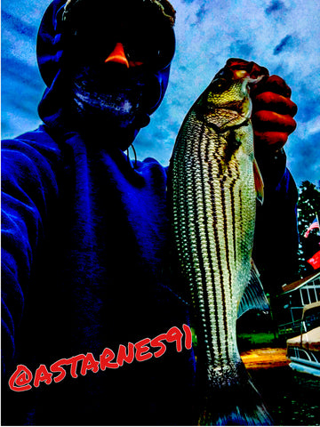 Beautiful Striper!  Caught by Andrew Starnes this September on our NextgenBaits Wounded Rattle Shad™!!