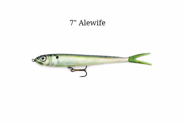 "7"" Alewife realistic soft plastic lure with treble hook"