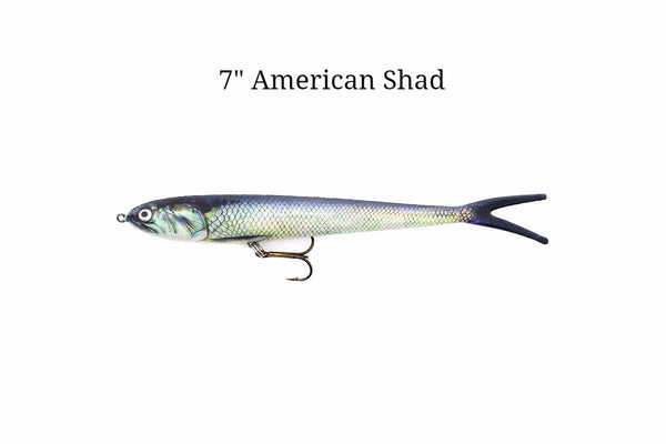 American Shad Soft Plastic Lure with Treble Hook