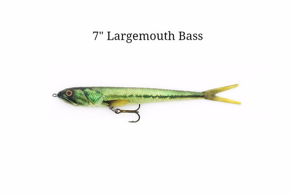"7"" Largemouth Bass realistic soft plastic lure"