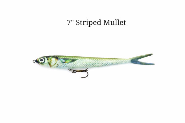 "7"" Striped Mullet realistic soft plastic lure"