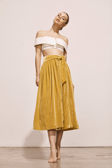 manet-gold-velvet-wrap-skirt