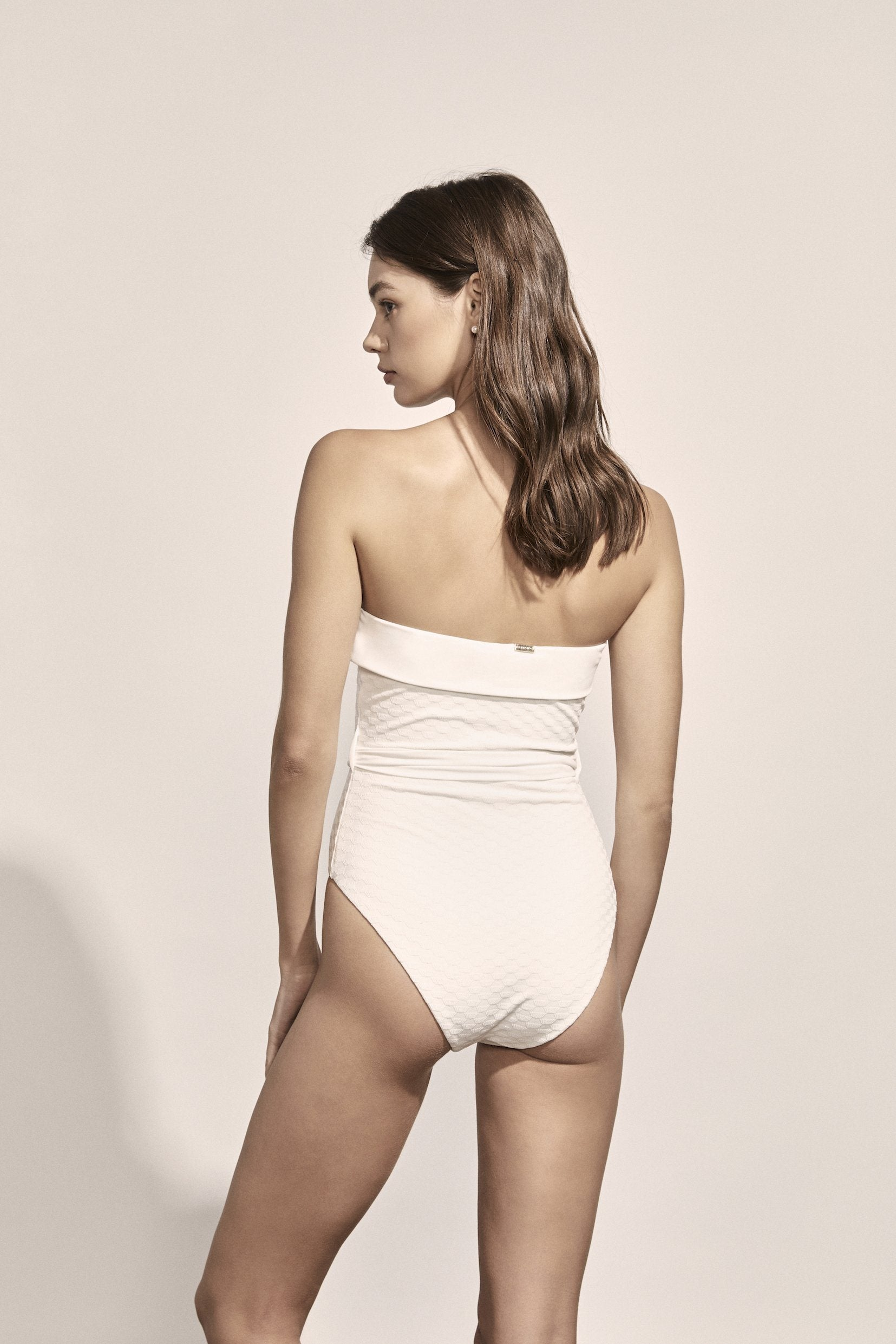 Solène Maillot in Ivory Geometric Jacquard