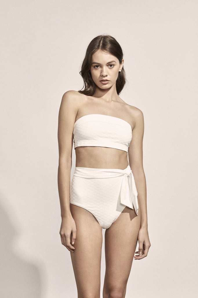 Sabine Bottoms in Ivory Geometric Jacquard