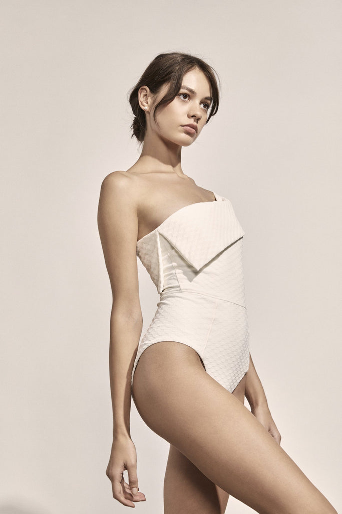 Jeanne Maillot in Ivory Geometric Jacquard