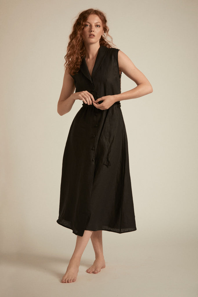 Kate Dress - Black Linen