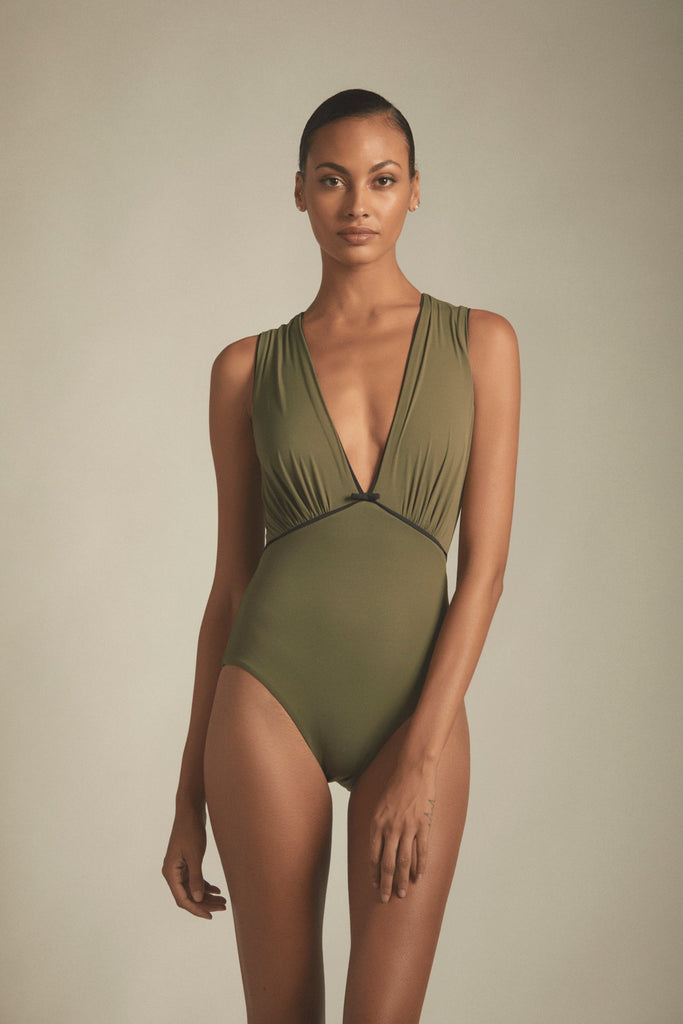 luxury-designer-green-deep-v-neck-swimsuit
