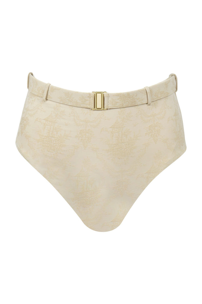 Designer two-piece bikini bottom in birch toile fabric. An AMAIÒ signature silhouette, the FLEUR bottom is high-waisted with a utility belt featuring a gold-plated belt buckle clasp. This signature bottom offers moderate coverage.