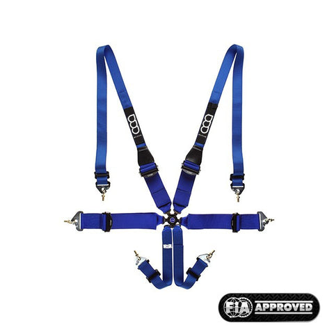 GP-Race Uni 6-Point Cinture 3/2 Inch UltraLight Hans Blu