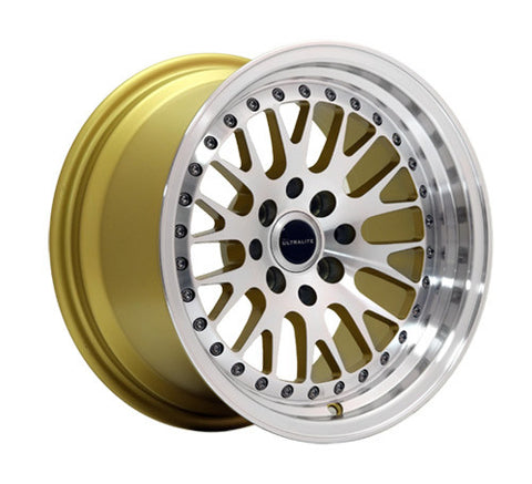 ULTRALITE WHEELS 15x8 ET10 - 4x100+114.3 PCD - GOLD MACHINED FACE