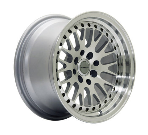 ULTRALITE WHEELS 15x9 - ET10 - 4x100+114.3 PCD - SILVER MACHINED FACE