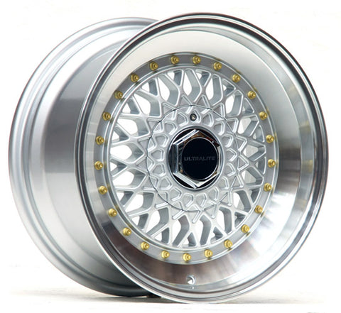 ULTRALITE RS 16x8 - ET20 - 4x100+108 PCD - SILVER POLISHED RIM GOLD RIVET
