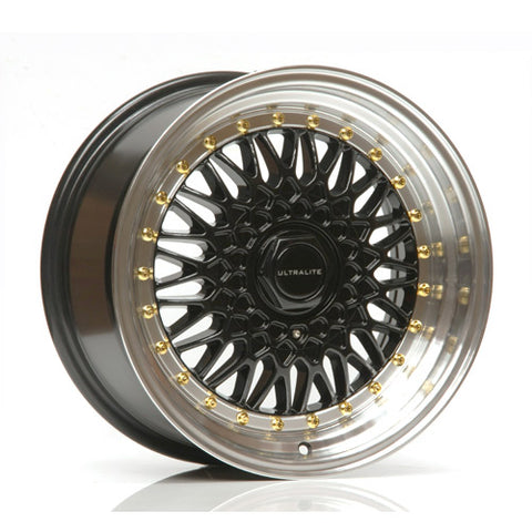 ULTRALITE RS 16x9 - ET20 - 4x100+108 PCD - NERO POLISHED RIM GOLD RIVET