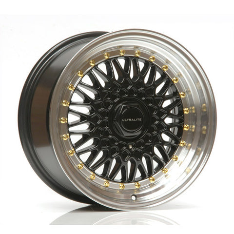 ULTRALITE RS 16x8 - ET25 - 4x100+108 PCD - BLACK POLISHED RIM GOLD RIVET