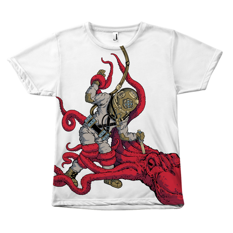 Octopus VS. Diver (Art by: Brian Callis) Large Print Shirt