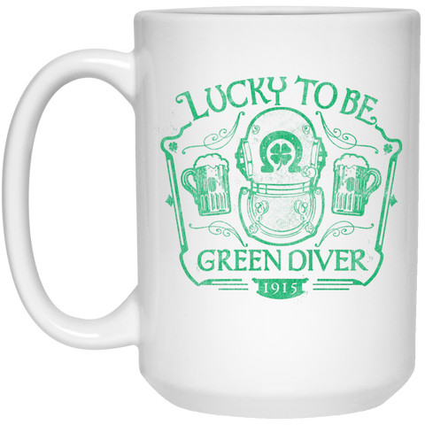 Lucky To Be Green Diver Mug - 15oz