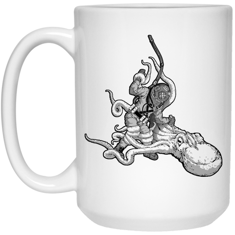 Octopus VS. Diver Mug - 15oz
