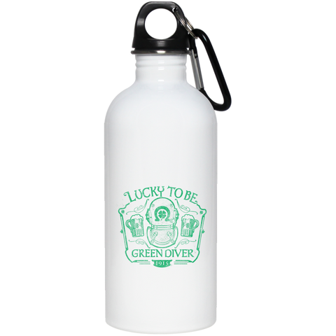 Lucky To Be Green Diver 20 oz Stainless Steel Water Bottle