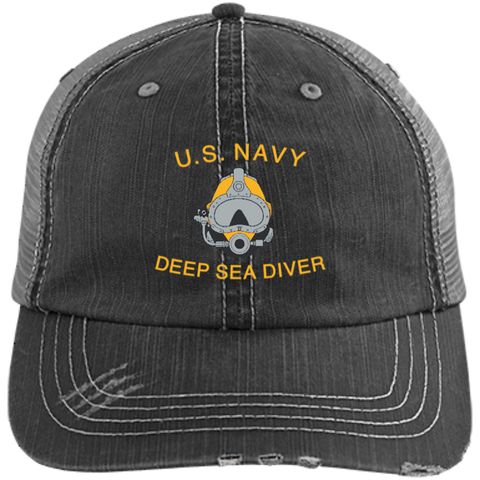 U.S. Navy Deep Sea Diver Distressed Unstructured Trucker Cap