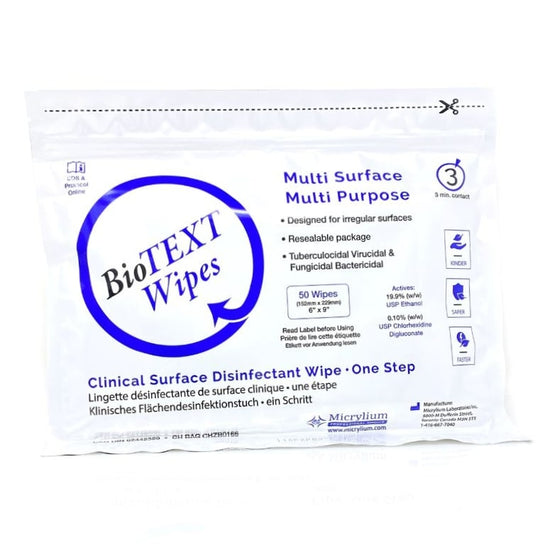 BioTEXT Disinfectant Wipes 50 Sheets Per Bag By Micrylium