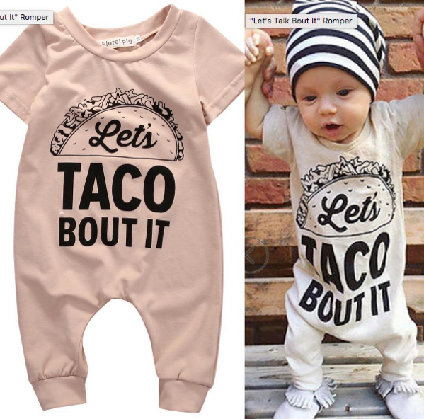 cdbd6f03bb9 Let s TACO Bout It Romper - BabyBrookeCo