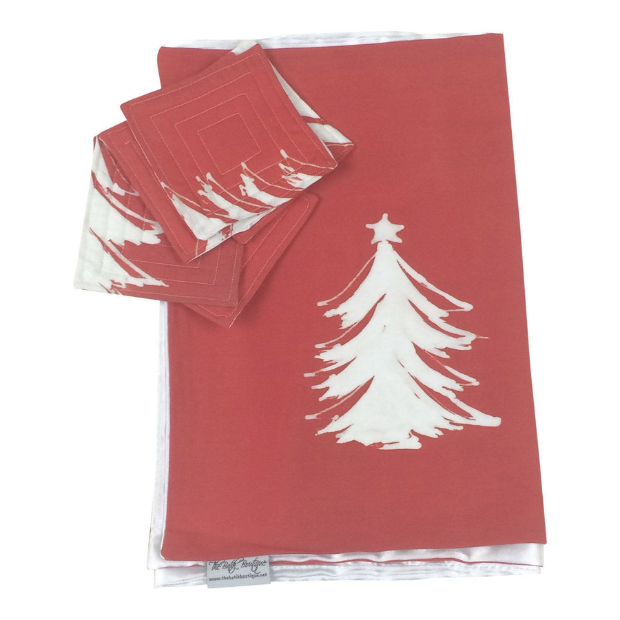 Holiday Table Runner and Coaster Set - Christmas Tree (Red) - Ethical Table Runner - Batik Boutique