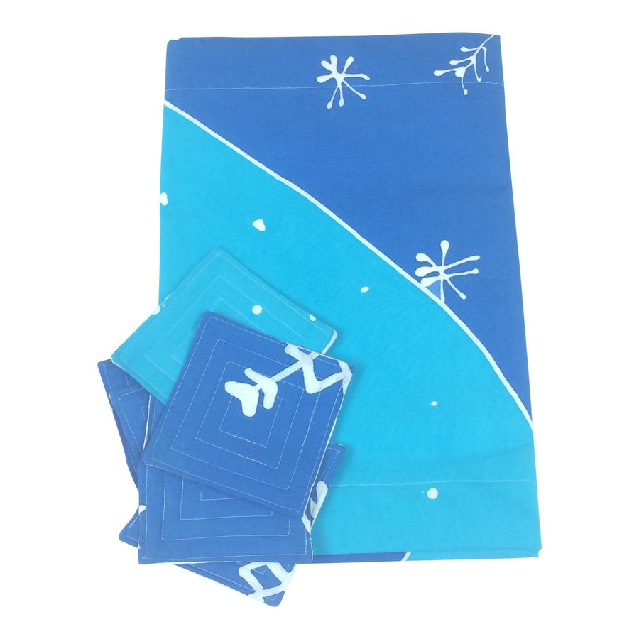 Holiday Table Runner and Coaster Set - Snowflake (Light-Dark Blue) - Ethical Table Runner - Batik Boutique