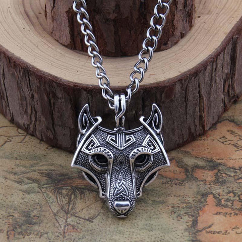 Norse Wolf Head Sterling Silver Plated Necklace