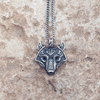 Image of Norse Wolf Head Sterling Silver Plated Necklace