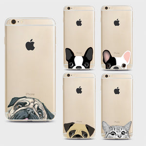 iPhone 7 Cases Funny Cat Dog  Pattern Soft Ultra-thin Transparent TPU Silicone  Cover - Idiyka.com
