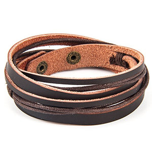 Handmade Genuine Vintage Leather Wrist Cuff Wrap Bracelet Adjustable