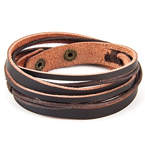 Handmade Genuine Vintage Leather Wrist Cuff Wrap Bracelet Adjustable (A: 1 Brown): Jewelry
