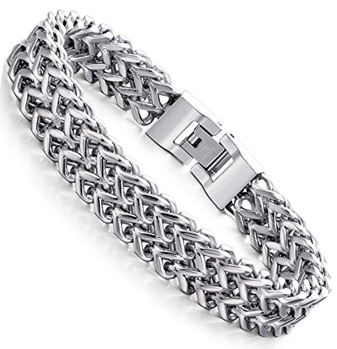 Men Stainless Steel 12 mm Two-strand Wheat Chain Bracelet