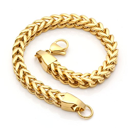 Gold & Silver Stainless Steel  Chain Bracelet for Men Women 6 mm Wide 8 Inches