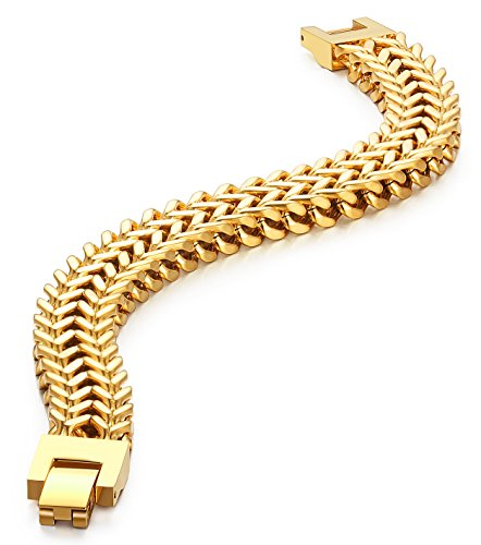 Stainless Steel 12 MM Two-strand Wheat Chain Bracelet for Men