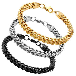3 Colors Black Gold Silver Stainless Steel Chain Bracelet  6 mm Wide 8 Inches