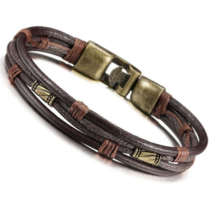 Men Leather Bracelet Wrist Band Brown Rope Bracelet Bangle