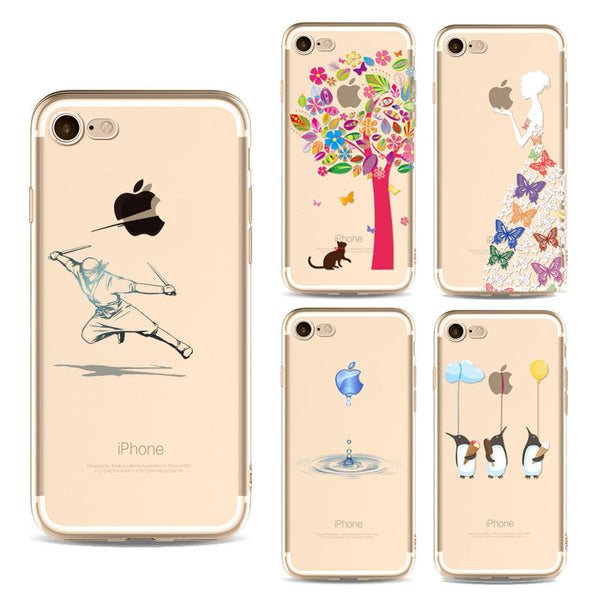 iPhone 7 Cases Fashion Creative Girl Animals Cat Painted Soft Ultra-thin Transparent TPU Silicone  Cover - Idiyka.com