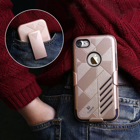 iPhone 7 Plus Cases Floveme Hard PC+Soft Silicone Detachable Belt Clip Full Body - Idiyka.com