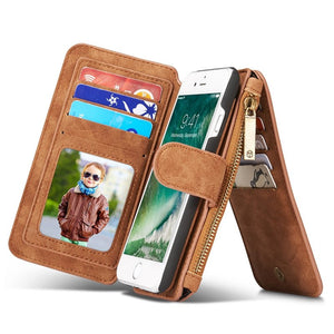 iPhone 7 Vintage Leather Multifunctional Magnetic Detachable Zipper Wallet   4.7 Inch - Idiyka.com
