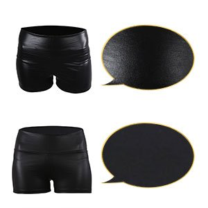 Women High Waist Shorts Black  PU Leather Skinny pants