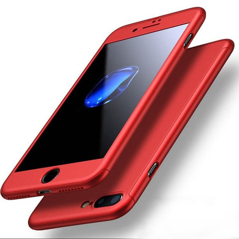 iPhone 7 Plus Cases Degree Full Body Protection Frosted Case Cover With Tempered Glass - Idiyka.com