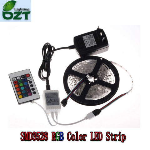 LED Strip 5M 300Led 3528 SMD 24Key IR Remote Controller 12V 2A Power Adapter Flexible Light Tape Idiyka