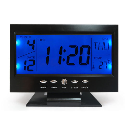 LED Voice Control Back-light Alarm Desk Clock