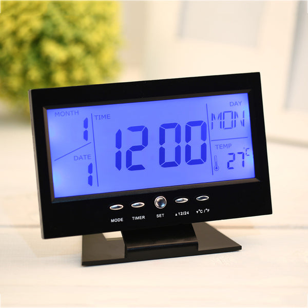 LED Voice Control Back-light Alarm Desk Clock - Idiyka.com